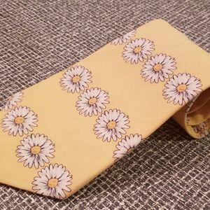 Paul's Accessories - yellow Crazy Daisies neck tie floral cotton 1980's